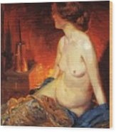 By The Fireside 1910 Wood Print