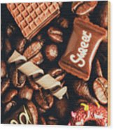 Cafe Beans And Sweet Treats Wood Print