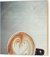 Caffe Macchiato Heart Shape On Brushed Wood Print