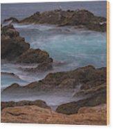 California Coastal Water Motion Wood Print