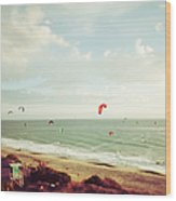 California Tilt Shifted Kite Surfers Wood Print