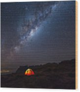 Camping Under The Stars. The Milky Way Wood Print