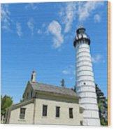 Cana Island Lighthouse Blue Sky Wood Print