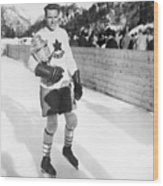 Canadian Hockey Captain With Olympic Wood Print