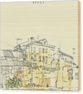 Canal Bank In Venice, Italy. Vertical Wood Print
