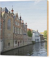 Canal In The Old Town Of Brugge Wood Print