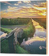 Canal Sunrise Wood Print