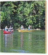 Canoeing On The Rideau Canal In Newboro Channel Ontario Canada Wood Print