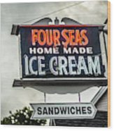 Cape Cod Four Seas Home Made Ice Cream Neon Sign Wood Print