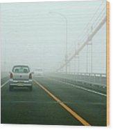 Car Crossing Bridge Wood Print