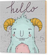 Card Template With Cartoon Monster Wood Print