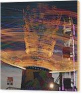 Carnival Rides Motion Blur Wood Print