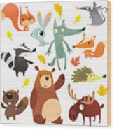 Cartoon Forest Animal Characters. Wild Wood Print