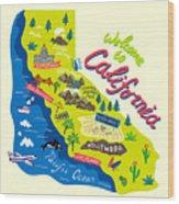 Cartoon Map Of California.travels Wood Print