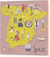 Cartoon Map Of Spain With Legend Icons Wood Print