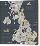 Cartoon Map Of United Kingdom With Wood Print