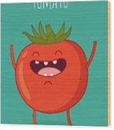 Cartoon Tomato With Eyes And Smiling Wood Print