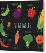 Cartoon Vegetables Illustration On Wood Print
