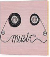 Cassette Tape Music Graphic Wood Print