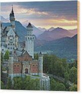 Castle Neuschwanstein With A Dramatic Wood Print
