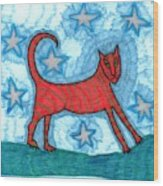 Cat By Starlight Wood Print