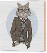 Cat Dressed Up In Tweed Jacket, Furry Wood Print