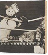 Cat Fight Wood Print