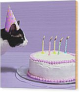 Cat Wearing Birthday Hat Blowing Out Wood Print