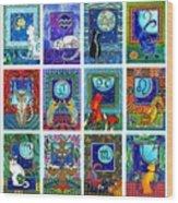 Cat Zodiac Paintings  Wood Print