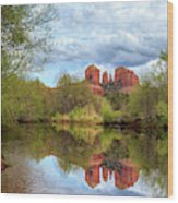 Cathedral Rock Reflection Wood Print