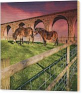 Cefn Viaduct Horses At Sunset Wood Print