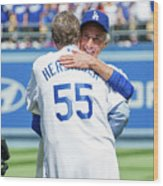 Celebrities At The Los Angeles Dodgers Wood Print