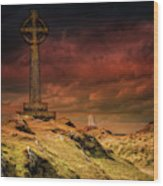Celtic Cross Llanddwyn Island Wood Print