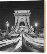 Chain Bridge At Night In Budapest Wood Print