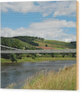 chainbridge over river Tweed at Melrose Wood Print