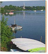 Chambly Basin And The Church Of St Joseph In Quebec Wood Print