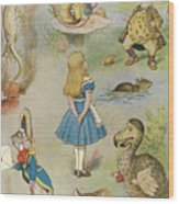 Characters From Alice In Wonderland  Wood Print