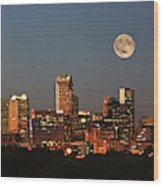 Charlotte City Skyline At Sunset Wood Print