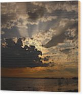 Cheboygan Lakeside Sunset Wood Print