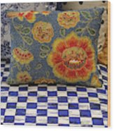 Checkerboard And Pillow Wood Print