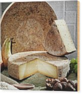 Cheese, Fruit And Grains On Table Wood Print
