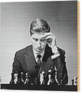 Chess Champion Robert J. Fisher Playing Wood Print