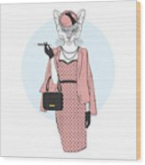 Chic Cat Woman Furry Art Illustration Wood Print