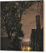 Chicago Alley At Night Wood Print