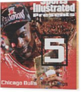 Chicago Bulls Michael Jordan, 1997 Nba Champions Sports Illustrated Cover Wood Print