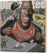 Chicago Bulls Michael Jordan Its Supermichael . . . Or Is It Sports Illustrated Cover Wood Print