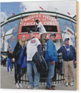 Chicago Cubs Fans Watch Game Four In Wood Print