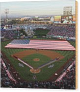 Chicago Cubs V Los Angeles Angels Of Wood Print