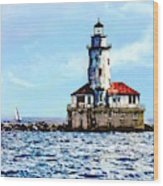 Chicago Il - Chicago Harbor Lighthouse Wood Print