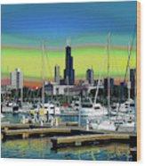 Chicago Marina Wood Print